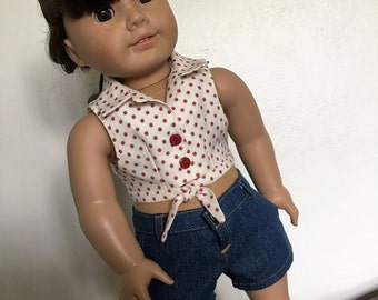 SALE - Daisy Duke blouse  with denim shorts fits American girl dolls