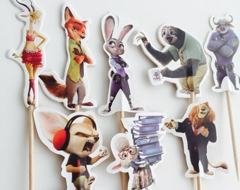 12pcs Zootopia Cupcake Topper Picks. Party Supplies