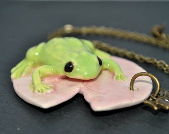 Necklace frog ceramic - made ceramic jewellery hand in france