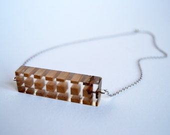 Nacklace / pendant - resin and wood