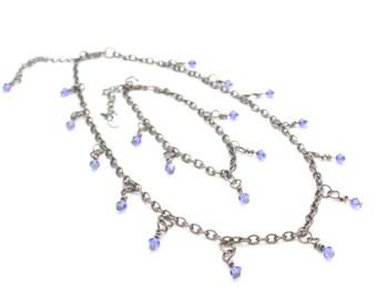 Necklace & bracelet swarovski blue