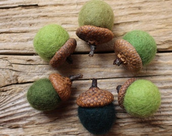 Green shades Needle Felted Acorns. Wool Acorns, Natural toy. Home Decoration. Eco - friendly. Felt acorns. Set of 6