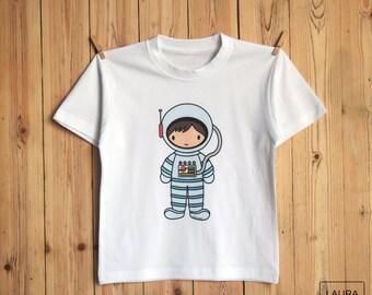 t-shirt child astronaut / t-shirt boy astronaut / digital print astronaut / astronaut illustration