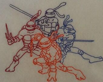 Karate turtles colorwork design fits 5X7 hoop