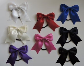 Double Tied Satin Ribbon Hair Bow x 2 *8 Colours Available