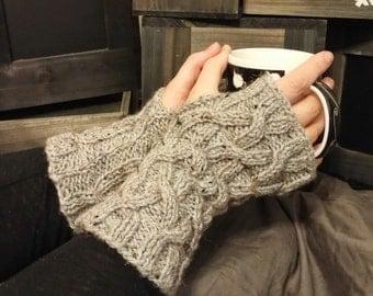 Handmade Knit Grey Fleck Lattice Cable Fingerless Gloves - Arm Warmers - Wristlets Ready to Ship
