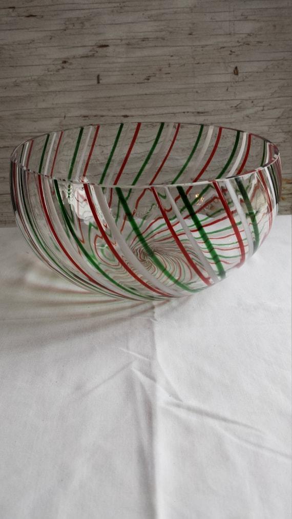 Eastern Art Glass Peppermint Twist looking Bowl