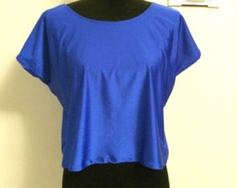 Round neck blouse for women, blue blouse, crop top, tops
