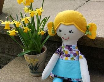 Handmade Doll Rag Doll Fabric Doll Doll Softie Personalised Doll 16 inch Handmade Doll