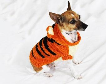 Handmade knitted Tigger dog coat jumper - dog dress up - small-medium dog - dog costume. Ready to ship!