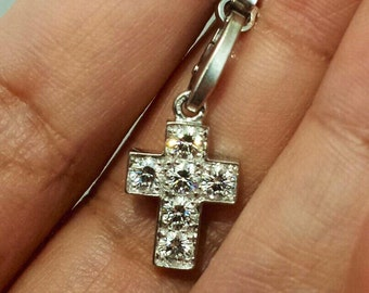 Cartier 18K White Gold Diamond Cross Crucifix Pendant