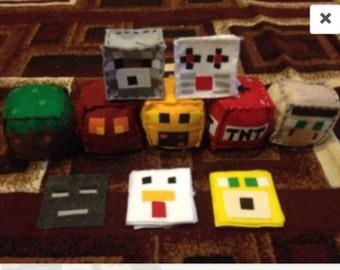 Handmade minecraft inspired plushies