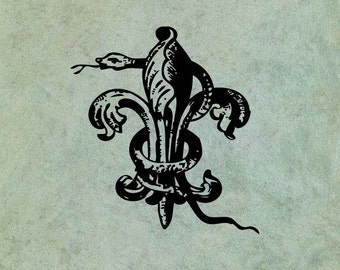 Snake Entwined Around Fleur de Lys - Antique Style Clear Stamp