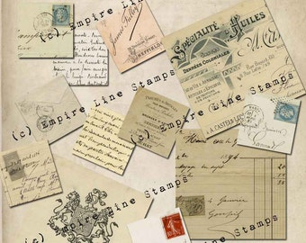 Inchies Squares Postage Ephemera French Letters Postage  ATC Scrapbooking Papercrafts Instant Download Digital Download