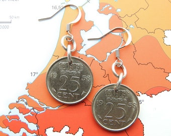 Netherlands quarter coin earrings in year of birth 1970 - 1971 - 1972 - 1973 - 1974 - 1975 - 1976 - 1977 - 1978 - 1979 - 1980