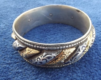 Morocco - Bracelet Moon and sun relief in silver part is silver with blue enamel patterns and the other part is covered in gold leaf
