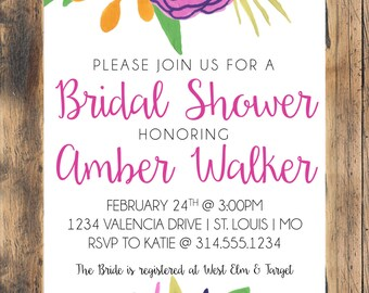 Pink and Purple Floral Bridal Shower Invitation