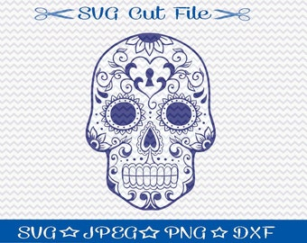 Sugar Skull SVG File / SVG Cut File /  SVG Download / Silhouette Cameo / Digital Download