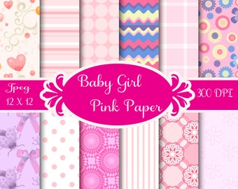 Digital Scrapbook Paper,  Printable Paper, Digital Paper, Digiscraps, Baby Girl, Pink Pattern