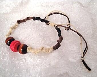Handmade Natural Hemp Bracelet with Wooden Beads