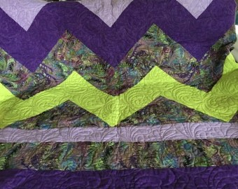Purple and Green zig-zag Quilt
