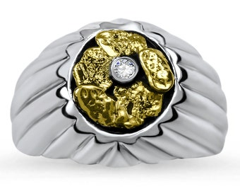 2191# Men's Gold Nugget Ring-Promotion 20% Off