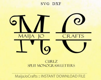 Split letter monogram SVG file DXF, Digital svg font Alphabet Silhouette Cameo font Cricut fonts Cricut designs Monogram Font Svg fonts