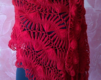 SALE 40%,Crochet Tippet, Crochet Scarf, Tippet bilateral, stole crocheted,red tippet,  delicate tippet, hairpinlace tippet, 60cm*160cm