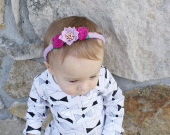 Lilac, fuchsia, and rosy copper felt flower hand wrapped headband