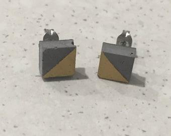 Handpainted grey concrete stud earrings