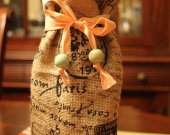 Burlap Wine bag