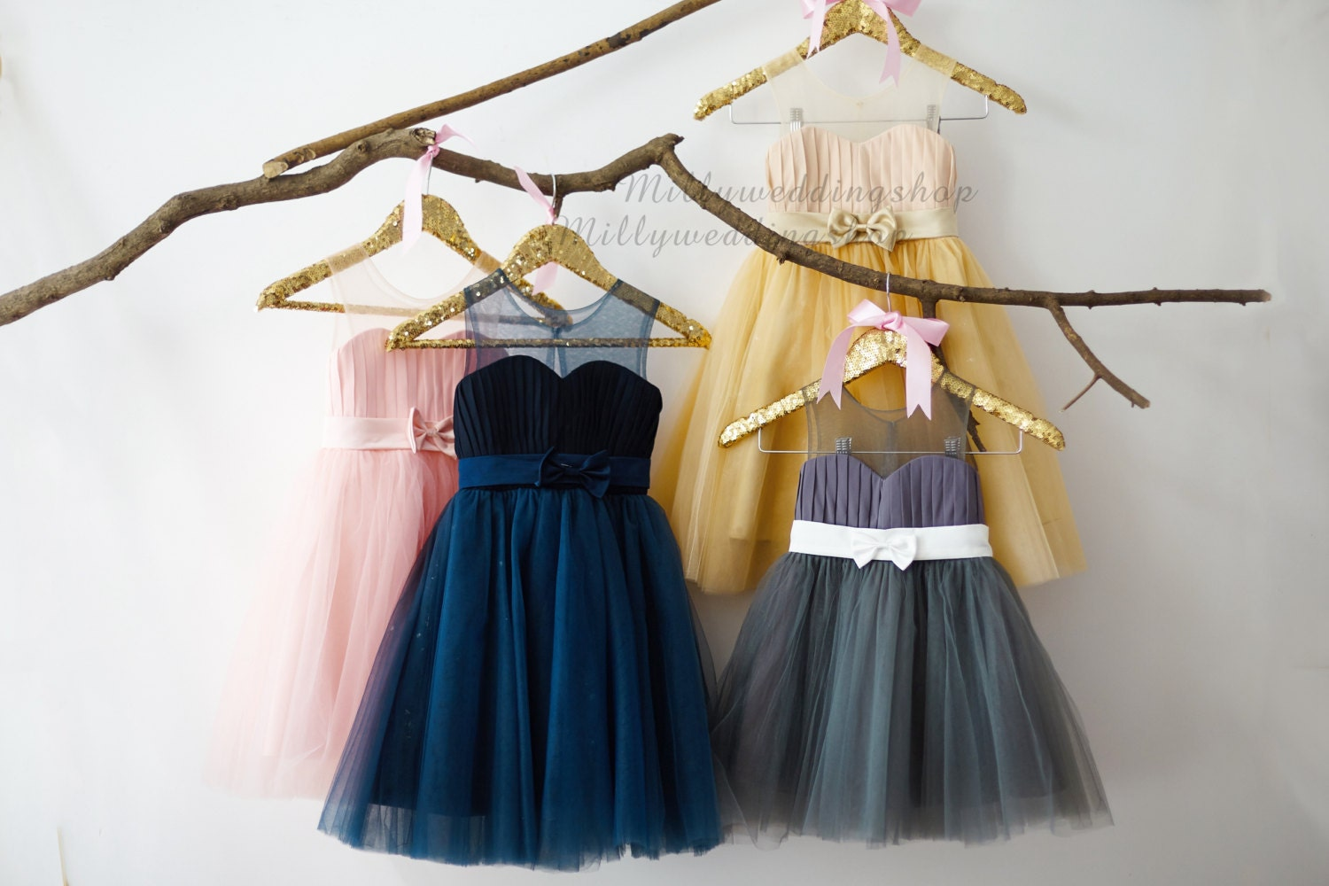 Pink Navy Blue Gray Champagne Chiffon Tulle Flower Girl Dress