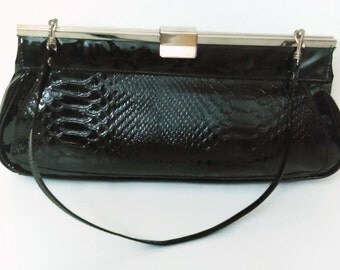 1960's black Cocodile purse with handle