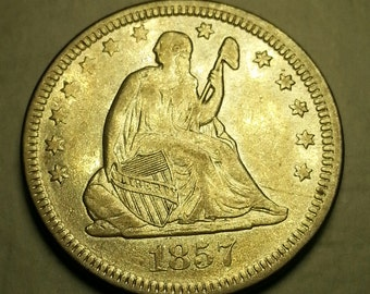 Vintage 1857 Quarter Seated Liberty Extra Fine Condition FREE SHIPPING