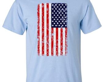 Distressed American Flag Vertical T-shirt MU468