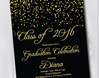 Class of 2016 Graduation Invitation Card (graduation announcement) - Print at Home or E-card--Black and Gold