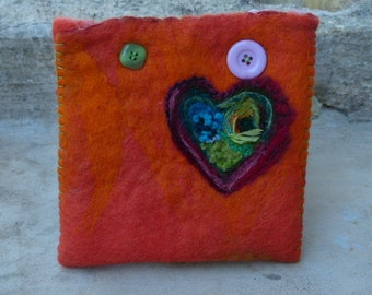 wool felted, embroidered pouch