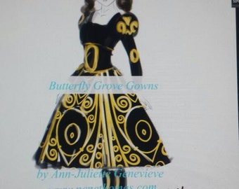 Cosplay Princess black and yellow corset and gown with glow elements