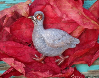 Dove Brooch, Bird, Polymer clay