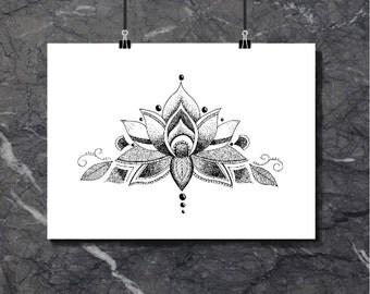 Graceful Lotus - Art Print of original artwork