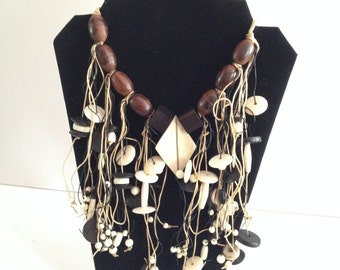 Wood and Twine Bib Collar Necklace with Two-tone Medallion