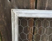 Chicken Wire Frame, Rustic Chicken Wire, Memo Board, Jewelry Holder, Repurposed Wood, Frame