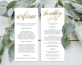 Wedding Program Editable Template | Program Printable, Ceremony Printable | Gold Rustic Calligrapy Hand Lettered | 4x9"