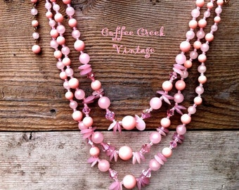 Vintage Necklace- 3-strand pink beaded necklace! 1950's