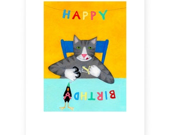 Series of 5 cat cards