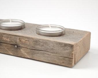 Salvaged Wood Tea Light Holder - Unique Table Centerpiece - Handmade Candleholder
