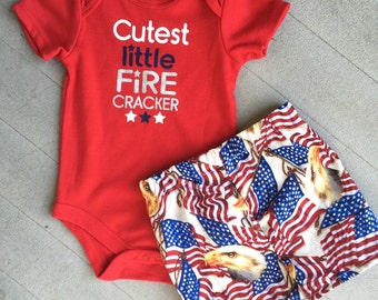 July 4th baby onsie and shorts outfit boys and girls red white blue shorts or skirt patriotic matching sibling