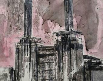 BATTERSEA UNDER RECONSTRUCTION - London Power Station Giclee Fine Art Print