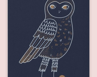 snowy owls poster, blue paper, silkprinting