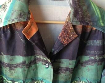 Plus size vintage tree nature print blazer